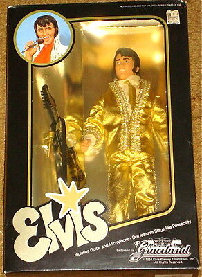 ELVIS PRESLEY 1984 DOLL IN GOLD OUTFIT NEW IN - Elvis Presley Outfits