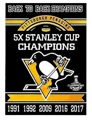 Pittsburgh Penguins 5X And Back To Back  Stanley Cup Champion Fridge Magnet