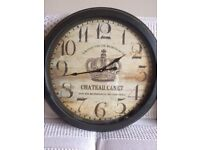 Large Shabby Chic feature wall clock Retro Style with brown metal surround