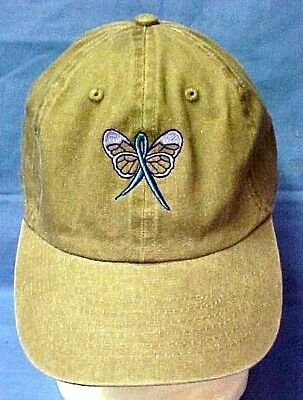 Teal Awareness Ribbon Butterfly Baseball Hat Khaki Tan Cap Ovarian Cancer New