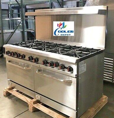 New 10 Burner Range Heavy Duty 60 Commercial Restaurant Stove Gas Double Oven