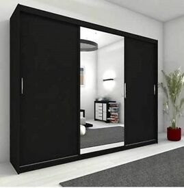 BRAND NEW BERLIN 2 DOOR SLIDING WARDROBE WITH HANGING RAILS + SHELVES IN 120 CM 180 CM 203 CM WIDE