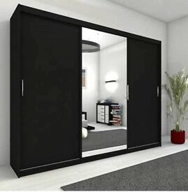 WHITE/BLACK/WALNUT COLORS!! BRAND NEW!! BERLIN Sliding Door German Wardrobe - CHEAPEST GUARANTEED