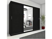 BIG 250 CM WIDE - BRAND NEW MONACO 3 DOOR SLIDING WARDROBE WITH SHELVES & RAILS AND MIRROR -BUY NOW-
