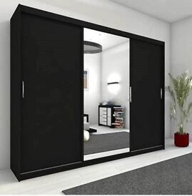 🌷💚🌷HIGH QUALITY🌷💚🌷 BERLIN 2 DOOR SLIDING WARDROBE WITH FULL MIRROR -EXPRESS DELIVERY