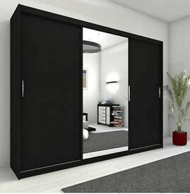 Get your order Now - Brand New Full Mirror 2 Door Berlin Sliding Wardrobe -5 Sizes and colours-