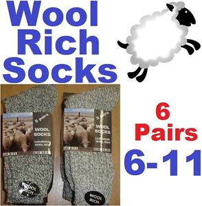 6-Prs-Of-Mens-Chunky-Wool-Socks-Size-UK-6-11EUR-39-45-Hiking-Walking-Boot-Socks