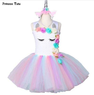 Flower Girl Unicorn Tutu Dress Pastel Rainbow Princess Birthday Party Costume (Pastel Princess)