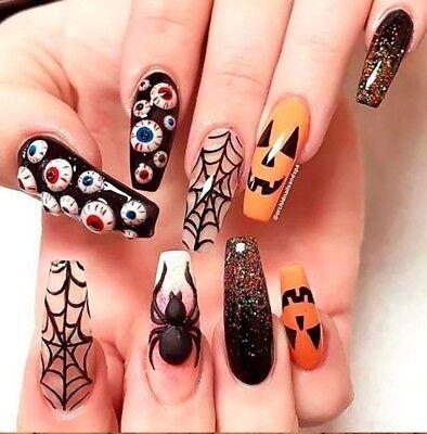 Halloween Ghost Pumpkin Skull Nail Water Transfer Slide Decals Tattoo Sticker 11