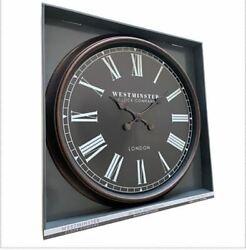Oversized 30 Inch Wall Clock Roman Numerals Bronze FrameBlack Insert London