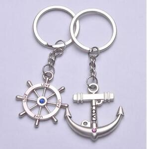 1 pair Fashion Anchor&Waterwheel keyfob Split Ring Keyring Keychain Love Gift