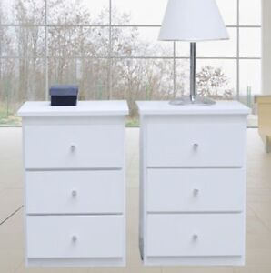 Brand New 2 Bedside Tables Modern in white/3 drawers/cabinet/Del: Syd/Melb/Brisb