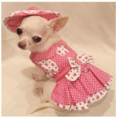 Harness Dress/Dog Dress/Dog Clothes/SIZE XS, M, L Strawberry Patch Set FREE SHIP