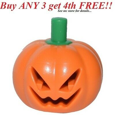 ☀️NEW Lego Halloween Minifigure Head Cover (Pumpkin Jack O' Lantern) Green Stem