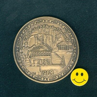 Riverboat On Mississippi River - Antique Bronze Mardi Gras Doubloon Coin 1968