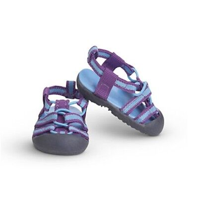 """American Girl 18"""" Doll SPORTY SANDALS SHOES Left Right Blue Purple Original Box!"""