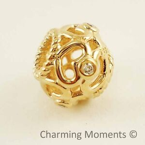 New-Authentic-Pandora-14K-Gold-Charm-Open-Heart-Diamond-750466D-Bead