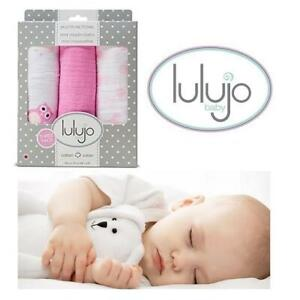 NEW 3 PACK LULUJO MUSLIN CLOTHS 244948965 28x28 MULTIFUNCTIONAL MINI MUSLIN BLANKETS COTTON PINK BABY SET