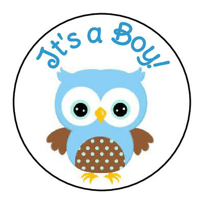 24 ITS A BOY BABY BLUE OWL SHOWER FAVOR LABELS ROUND STICKERS 1.67