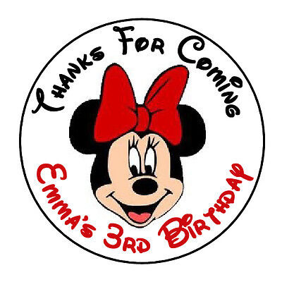 Minnie Mouse Face Stickers (24 PERSONALIZED MINNIE MOUSE FACE RED BIRTHDAY PARTY FAVOR LABELS STICKERS)