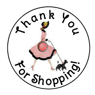 24 Personalized Thank You Lady Shopping Favor Labels Round Stickers 1 67