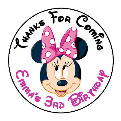 24 PERSONALIZED MINNIE MOUSE FACE PINK BIRTHDAY PARTY FAVOR LABELS STICKERS 1.67 - Minnie Face