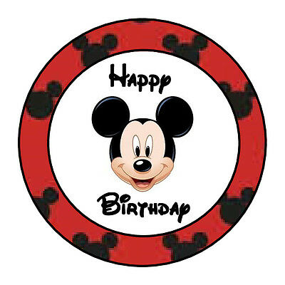 24 PERSONALIZED MICKEY MOUSE HAPPY BIRTHDAY PARTY FAVOR LABELS STICKERS 1.67
