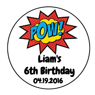 24 PERSONALIZED SUPERHERO BIRTHDAY POW FAVOR LABELS ROUND STICKERS 1.67