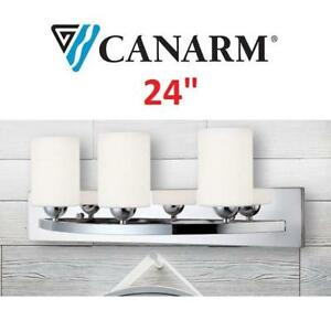 NEW CANARM 3 LIGHT VANITY FIXTURE IVL370A03CH-O 187780373 LIGHTING W/ FLAT OPAL GLASS CHROME 24""