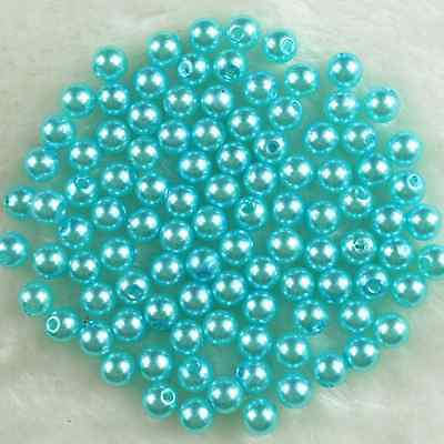 100Pcs 8mm Light Blue Round Acrylic Pearl DIY Craft Spacer Loose Beads