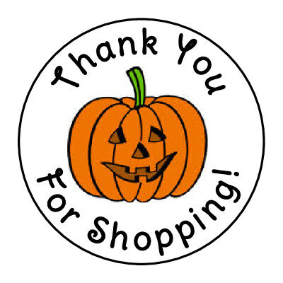 Halloween Thank You (24 HALLOWEEN PUMPKIN THANK YOU FOR SHOPPING FAVOR LABELS ROUND STICKERS 1.67