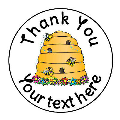 24 PERSONALIZED THANK YOU BEE HIVE FAVOR LABELS ROUND STICKERS 1.67