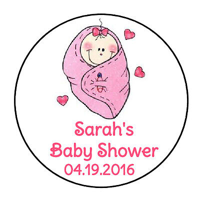 24 PERSONALIZED CUTE PINK GIRL BABY SHOWER FAVOR LABELS ROUND STICKERS 1.67