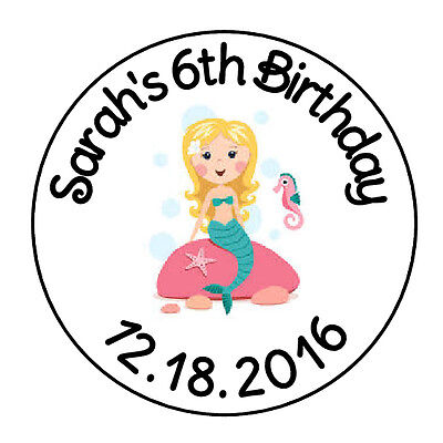 24 PERSONALIZED MERMAID BIRTHDAY FAVOR LABELS ROUND STICKERS 1.67