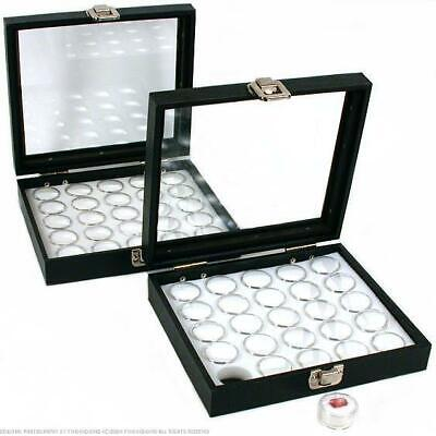 50 Gem Jars White Display Tray Glass Lid Travel Case