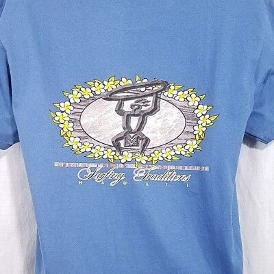 444d5cb2 Surfing Traditions Mens T Shirt Vtg 90s Hawaii Surfer Surfboard Blue Size  Large