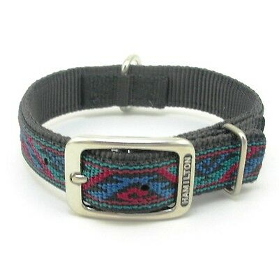 "HAMILTON ST Nylon Dog Collar, 26"" x 1"", Black with Southwest Overlay"