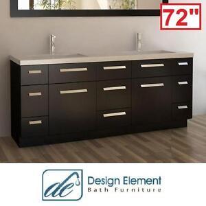 "NEW* DE MOSCONY 72"" DOUBLE VANITY - 115792219 - DESIGN ELEMENT - ESPRESSO CABINET WHITE QUARTZ TOP CHROME DRAIN SQUAR..."