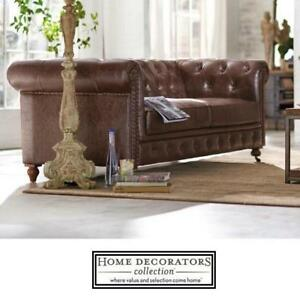 NEW* GORDON BROWN LEATHER SOFA 0849400760 156756129 HOME DECORATORS COUCH LOVESEAT