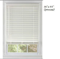 """Stores Faux Bois 2"""" - 36""""x45"""" comme neuf White F. Wood Blinds"""