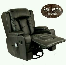 New Black Leather Recliner Heated Massage Chair with Rocking Function