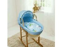 Blue come fly with me moses basket with Deluxe Rocking stand. Brand new. 5 plc left
