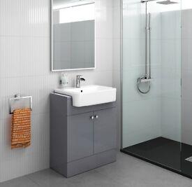 660mm Grey Floor Standing Basin Bathroom Vanity Unit Furniture Cabinet -RRP £225