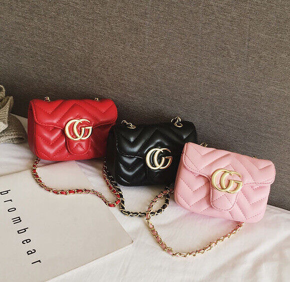 Fashion Trendy Kids Toddler Baby Girl Quilted Flap Crossbody Chain Bag