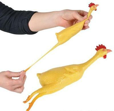 "STRETCH RUBBER CHICKEN 8"" Yellow Bird Flying Toy Stretching Funny Clown Joke Gag"