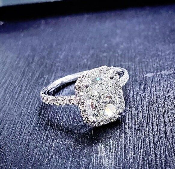 2.60 tcw Natural Radiant Cut Halo Pave Diamond Engagement Ring - GIA Certified