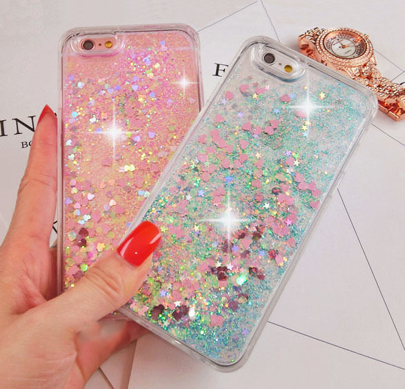 $3.96 - Luxury Glitter Hearts Liquid Back Phone Case Cover for Apple iphone 5/SE/6/6s+/7