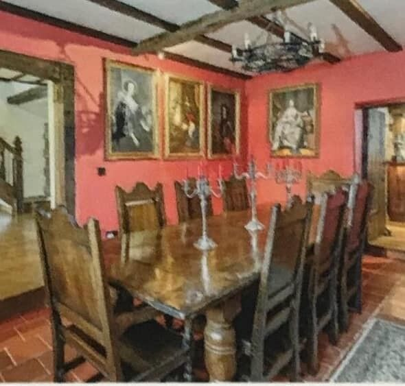 Large Gothic Antique Jacobean Oak Dining Table 8 Chairs