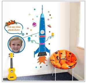Blue Space Rocket Stars Growth Height Measure Chart Removable Wall Stickers Kids