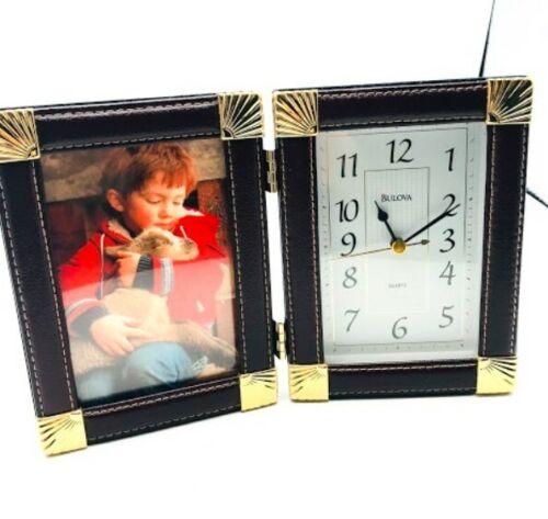 "Bulova Leather Trim Picture Frame Analog Clock Desk Top Folded  9"" x 6"" NEW"